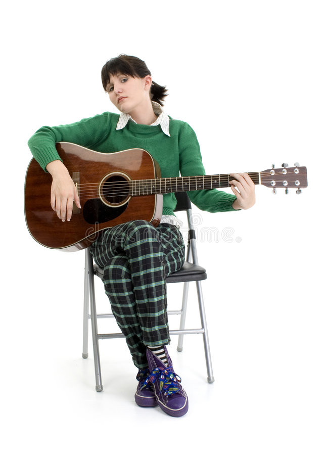 Young Woman with Acoustic Guitar stock images