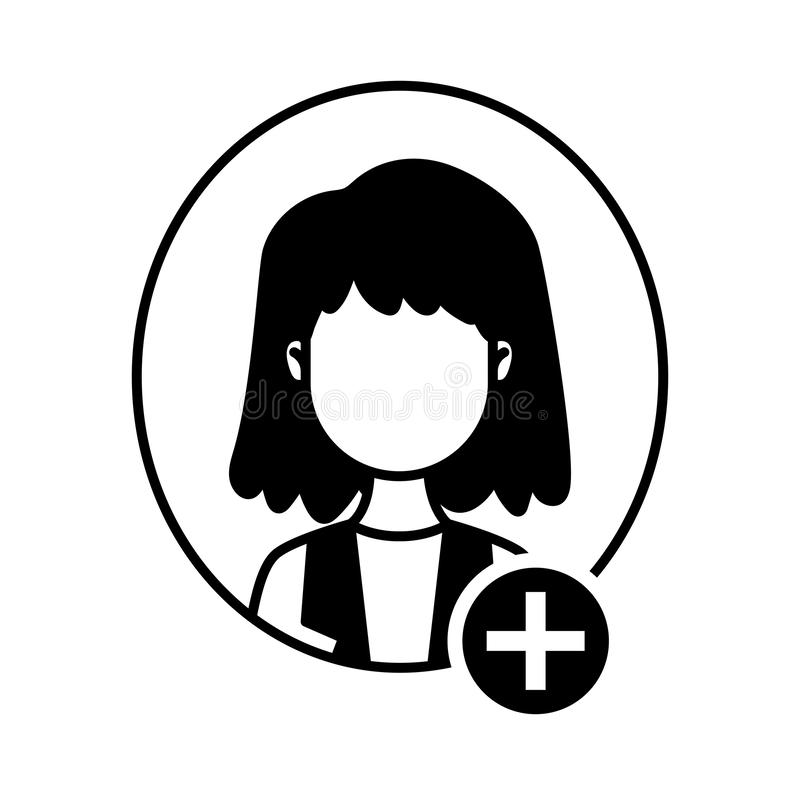 Young woman with add symbol avatar character royalty free illustration