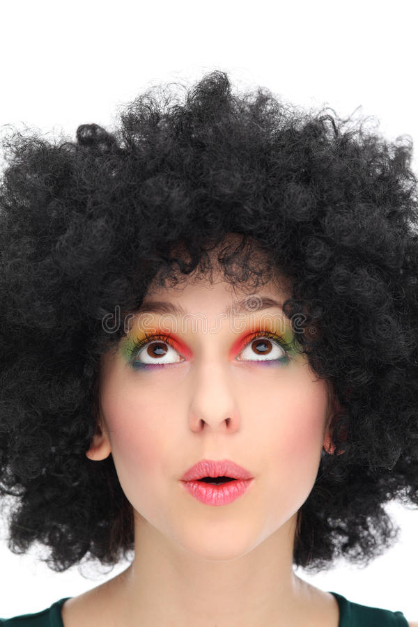 Download Young Woman With Afro Looking Up Stock Photo - Image of eyeshadow, playful: 28265510