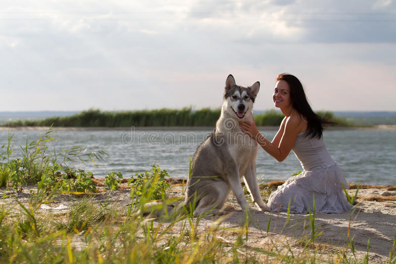 Young woman with alaskan malamute dog. Young adult woman with her favorite pet - alaskan malamute dog on the beach in the evening royalty free stock photo