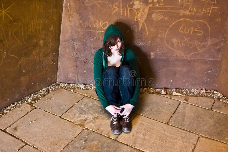 Young woman alone stock image