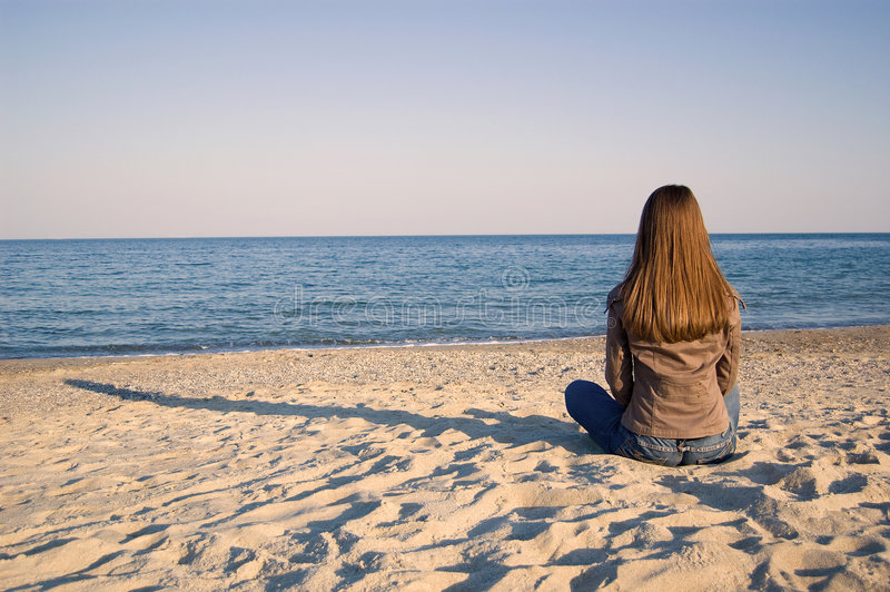 Download A Young Woman Alone At The Seaside Stock Image - Image: 9018521