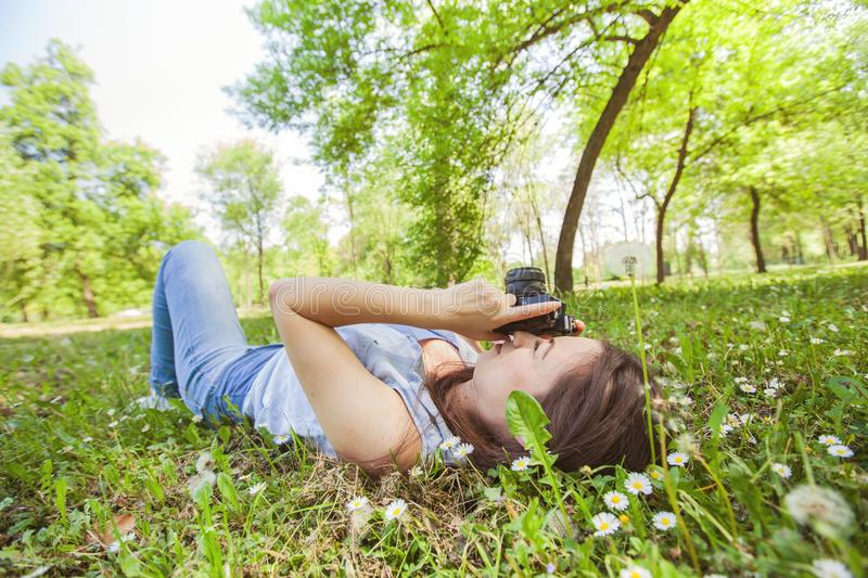 Young Woman Amateur Photographer Outdoor royalty free stock image