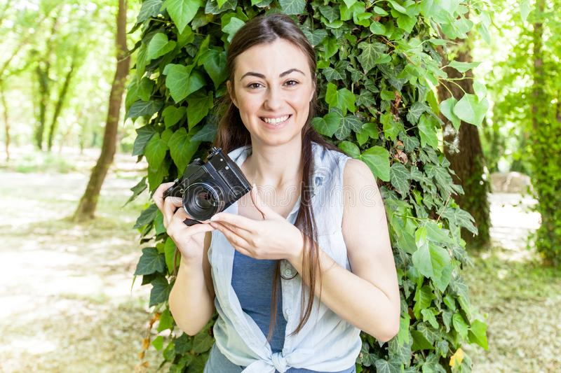 Young Woman Amateur Photographer stock images