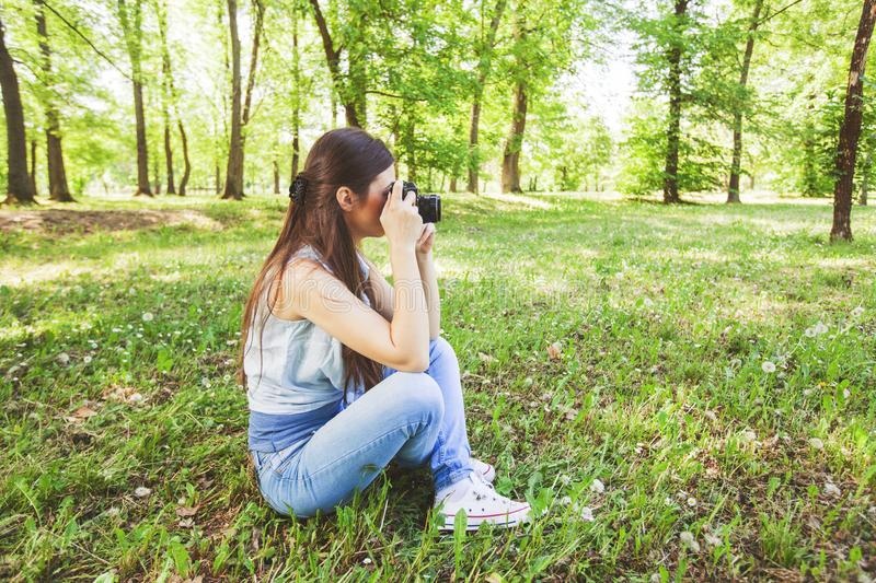 Young Woman Amateur Photographer Outdoor stock images