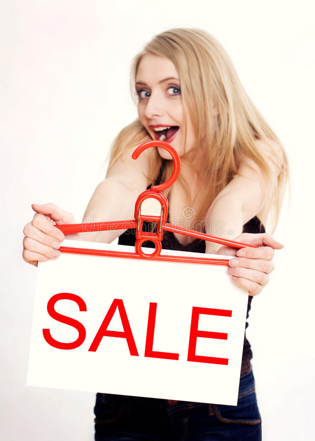 Download Young woman amazed by sale stock image. Image of concept - 16889727