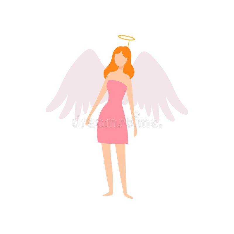 Young Woman in Angel Costume with Wings and Halo, Masquerade Ball, Carnival Party Design Element Vector Illustration. On White Background royalty free illustration