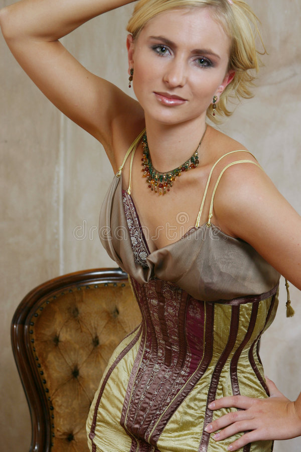 Young woman in antique dress 5 royalty free stock image