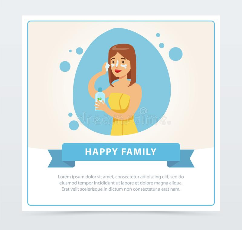 Young woman applying cream on her face, daily hygiene procedure, happy family banner flat vector ilustration, element. For website or mobile app with sample vector illustration