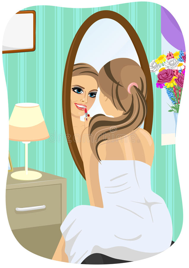 Young woman applying lipstick looking at mirror in bedroom vector illustration
