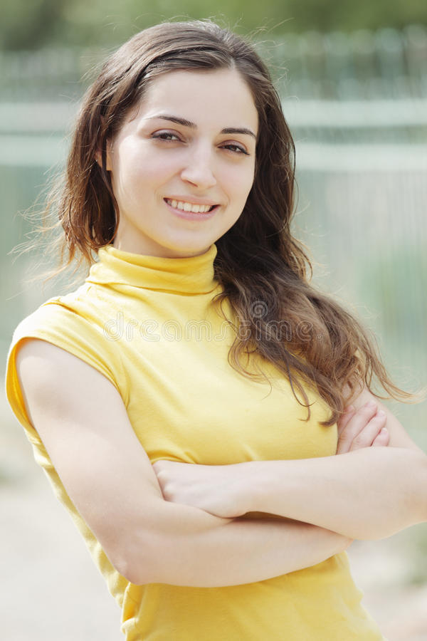 Download Young woman arms folded stock photo. Image of female - 15609476