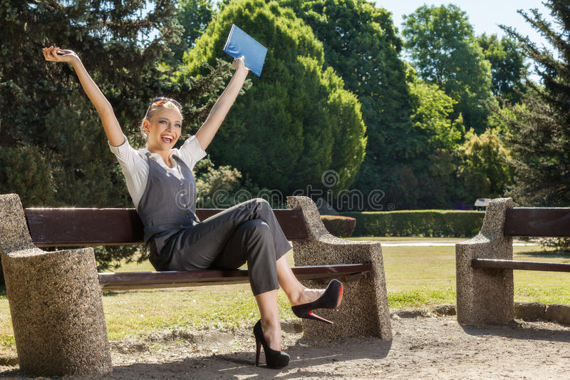 Download Young Woman With Arms Up Stock Photography - Image: 35950772