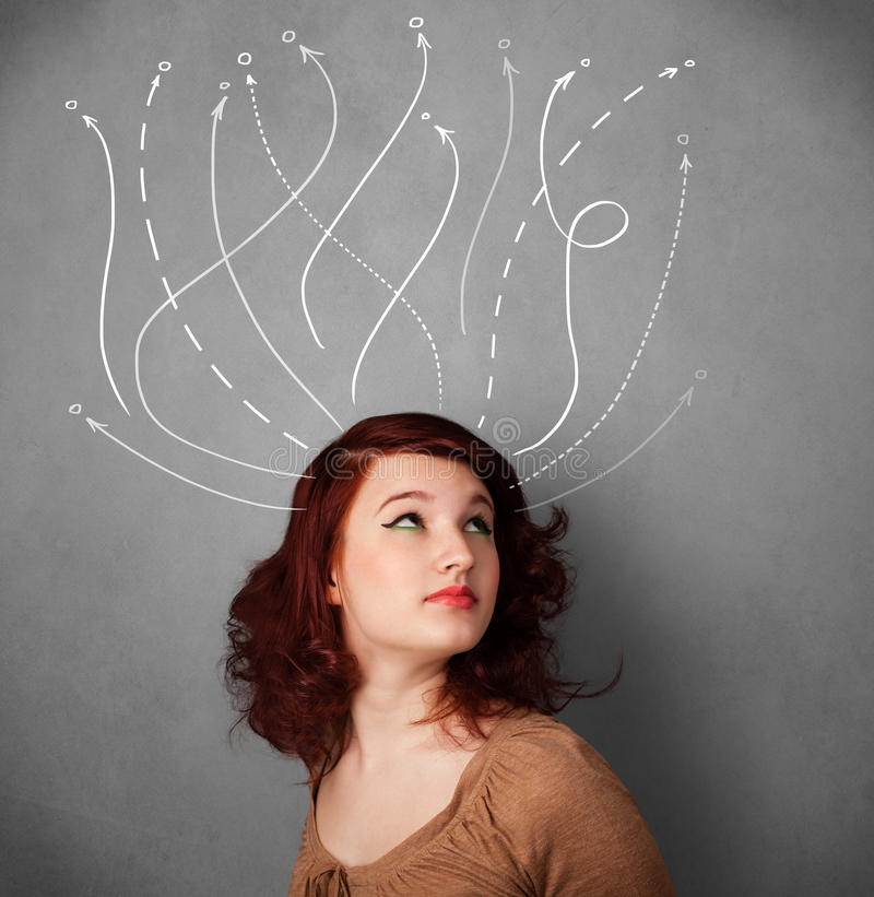Young woman with arrows coming out of her head. Pretty young woman thinking with arrows in different directions above her head stock image