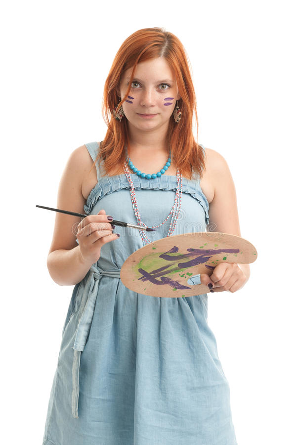 Young woman artist royalty free stock photo