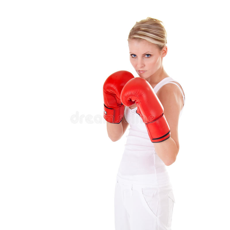 Download Young woman as fighter stock image. Image of blonde, energy - 10464973