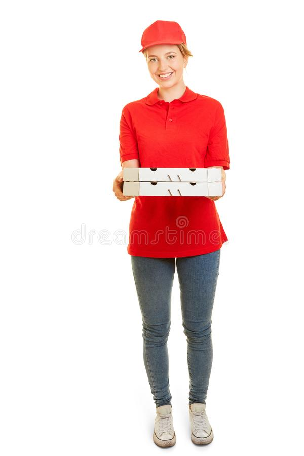 Young woman as pizza delivery man for pizza delivery service. In side job royalty free stock photography