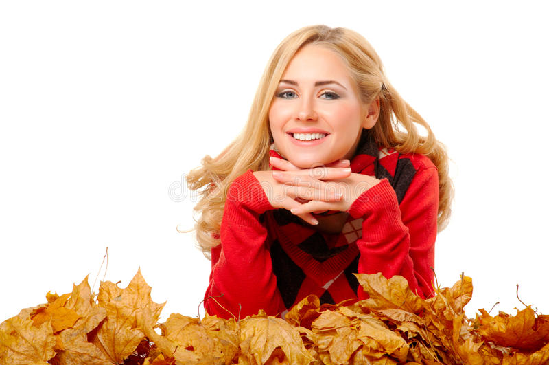 Download Young Woman With Autumn Leaves Stock Image - Image of autumn, face: 21937913