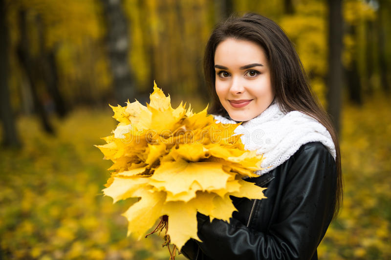 Young woman with autumn leaves in hand and fall yellow maple garden royalty free stock photography