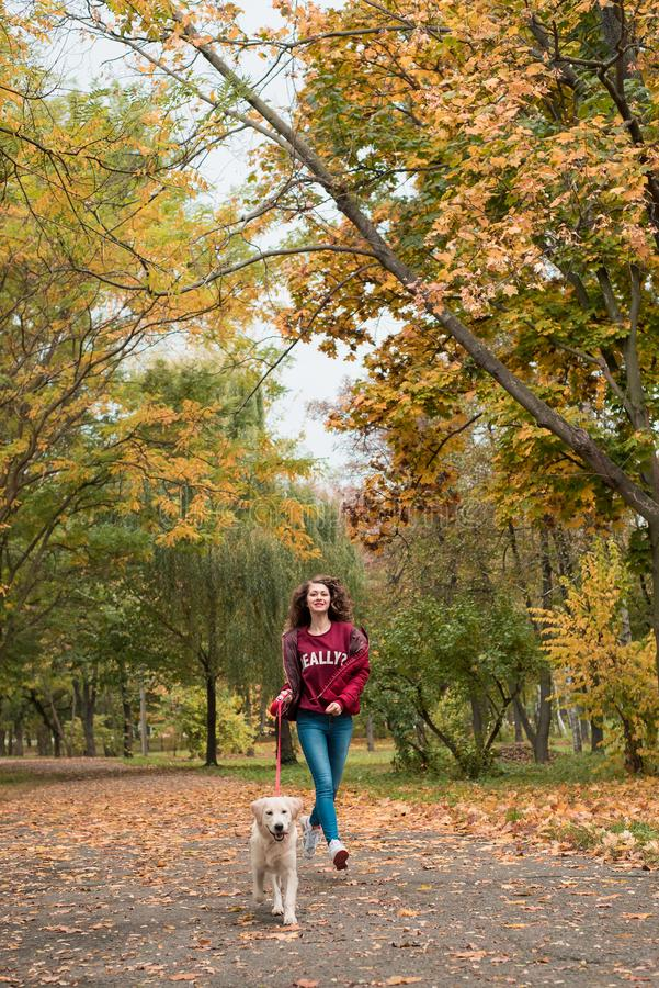 Portrait of a young woman with dog on golden autumn walk. royalty free stock photos