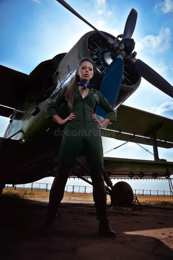 Young woman aviator royalty free stock photos
