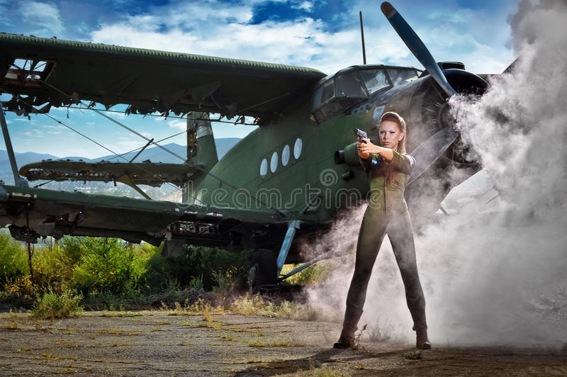 Young woman aviator royalty free stock photo