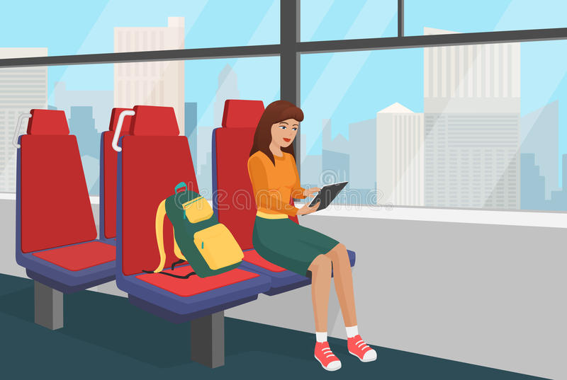 Young woman with backpack browsing tablet in the public vehicle or train vector illustration. Young woman with backpack browsing tablet in the public vehicle or vector illustration