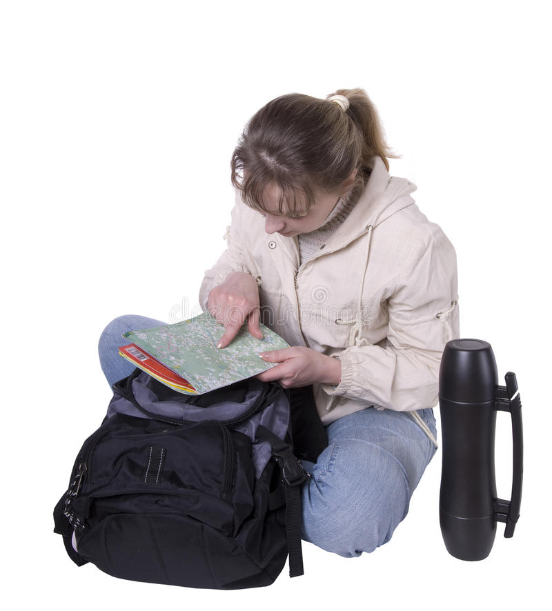 Young Woman With Backpack And Thermos Royalty Free Stock Image