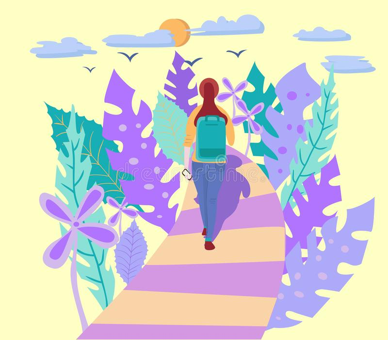 Young woman with backpack walking alone stock illustration