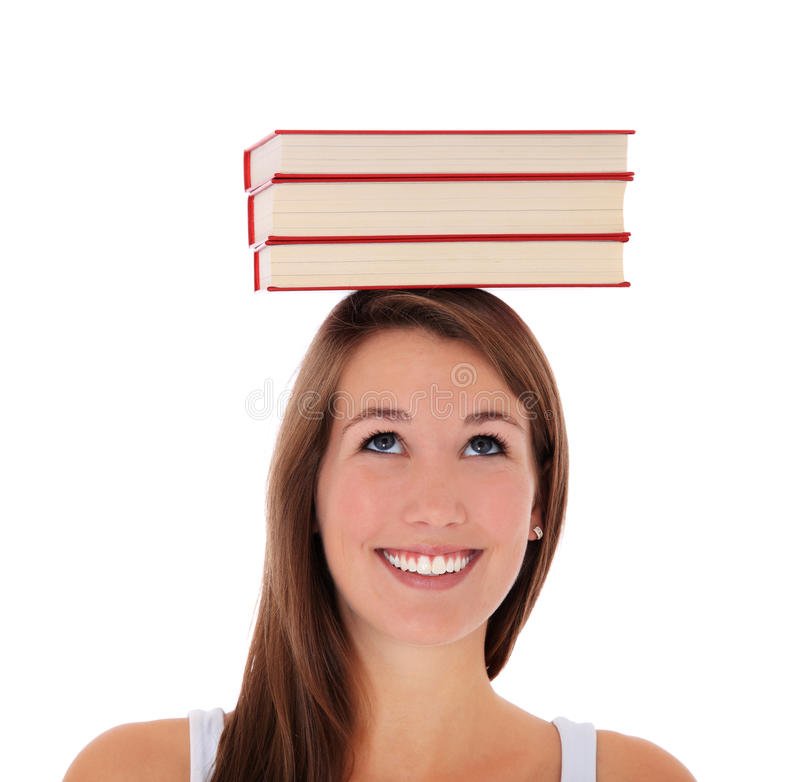 Download Young Woman Balancing Books On Her Head Stock Images - Image: 22111894