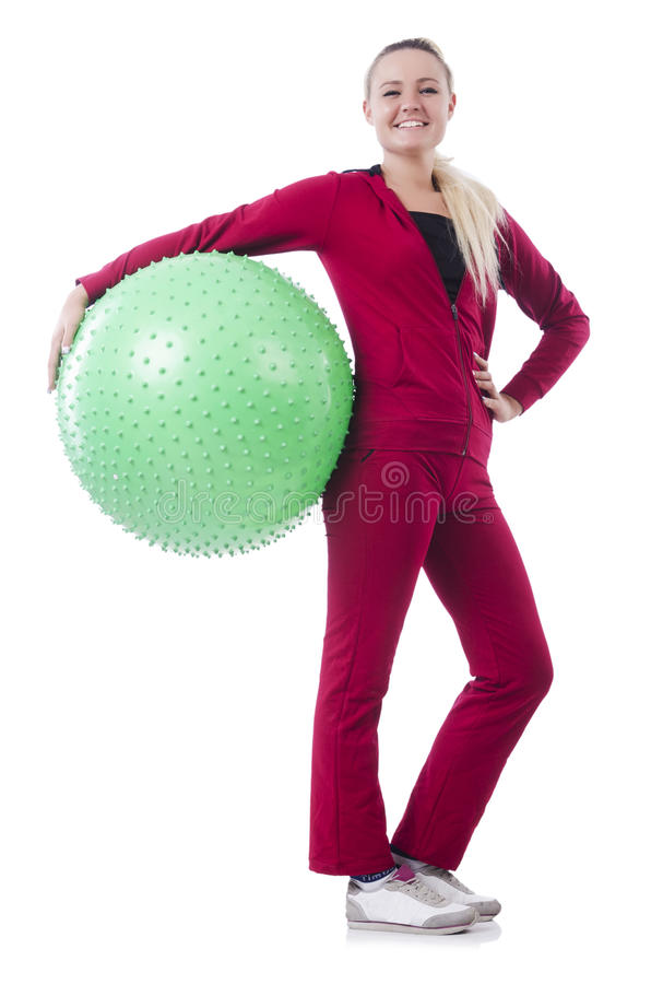 Download Young Woman With Ball Exercising Stock Photo - Image: 32217246