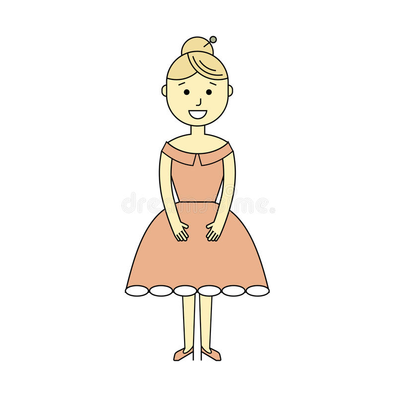 Young woman in the ball gown. Cartoon flat style vector illustration