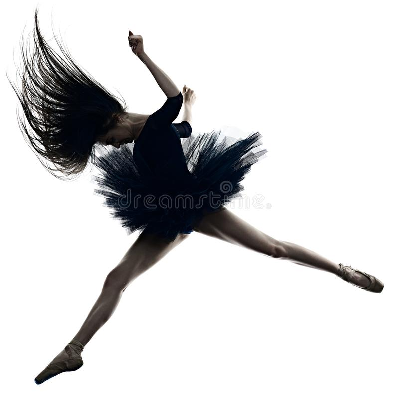 Young woman ballerina ballet dancer dancing isolated white background silhouette royalty free stock images