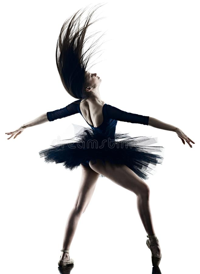 Young woman ballerina ballet dancer dancing isolated white background silhouette stock photography