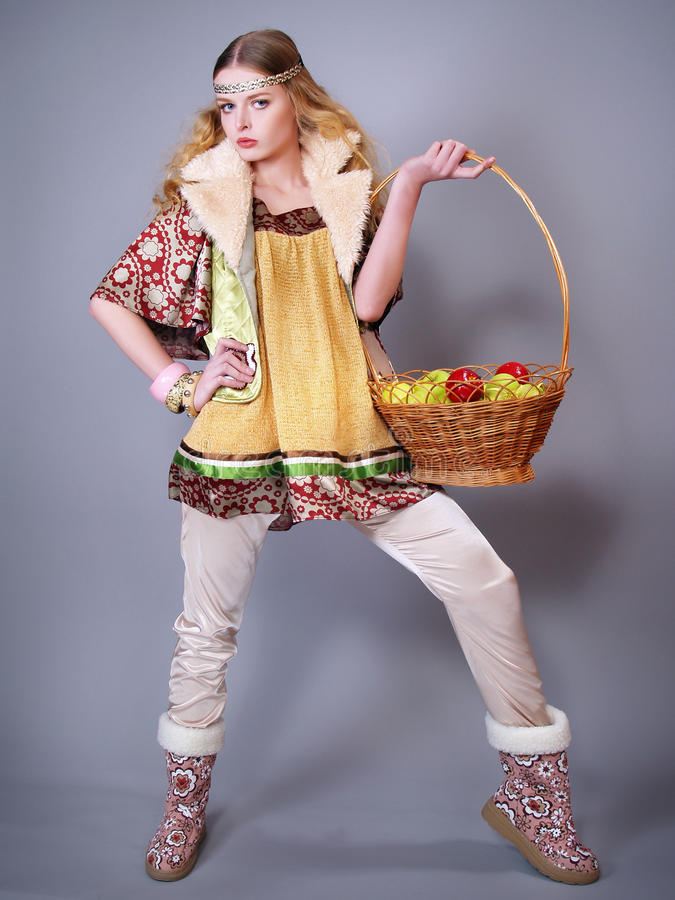 Download Young Woman  With A Basket Of Apples Royalty Free Stock Photos - Image: 17973048