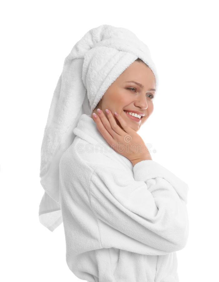 Young woman in bathrobe on background stock images