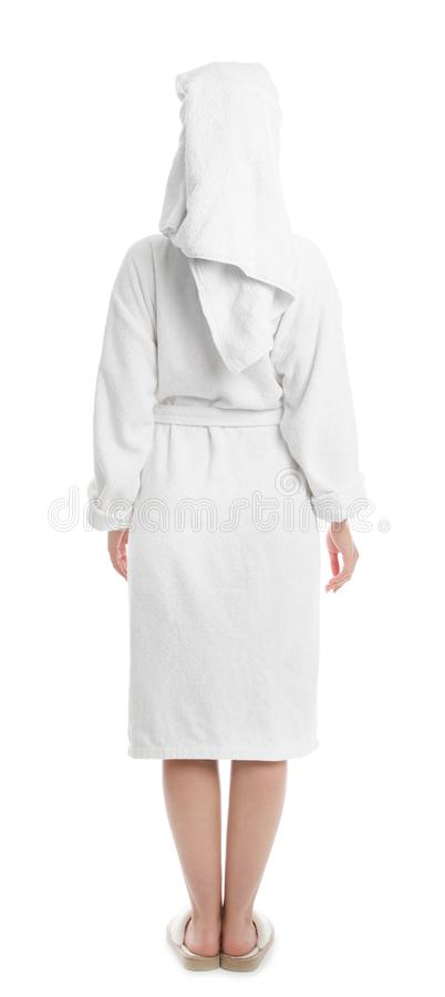 Young woman in bathrobe on background royalty free stock photos