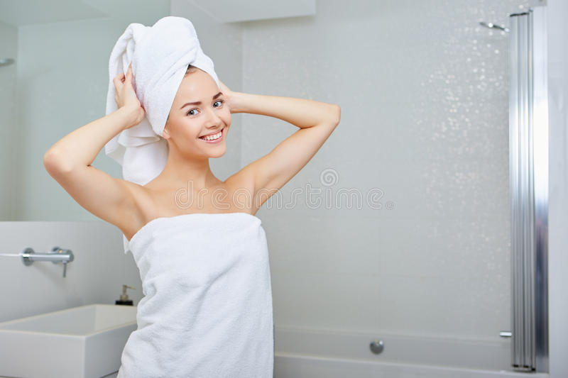 Young Woman in the Bathroom stock photography