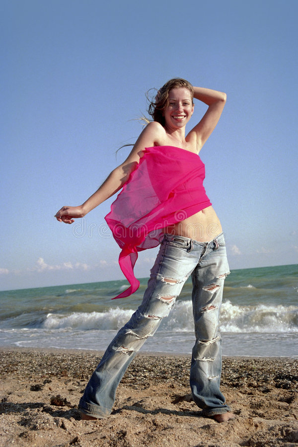 Download Young woman on a beach stock image. Image of coastline - 5795497