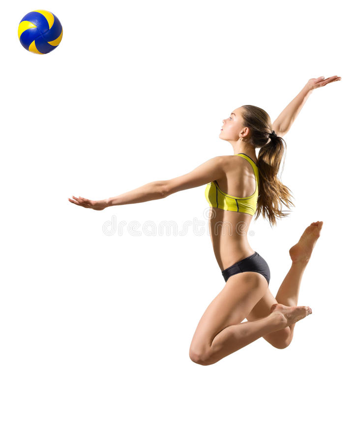 Young woman beach volleyball player stock images