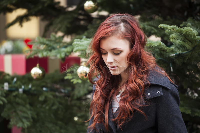 Young Woman with Beautiful Auburn Hair royalty free stock image