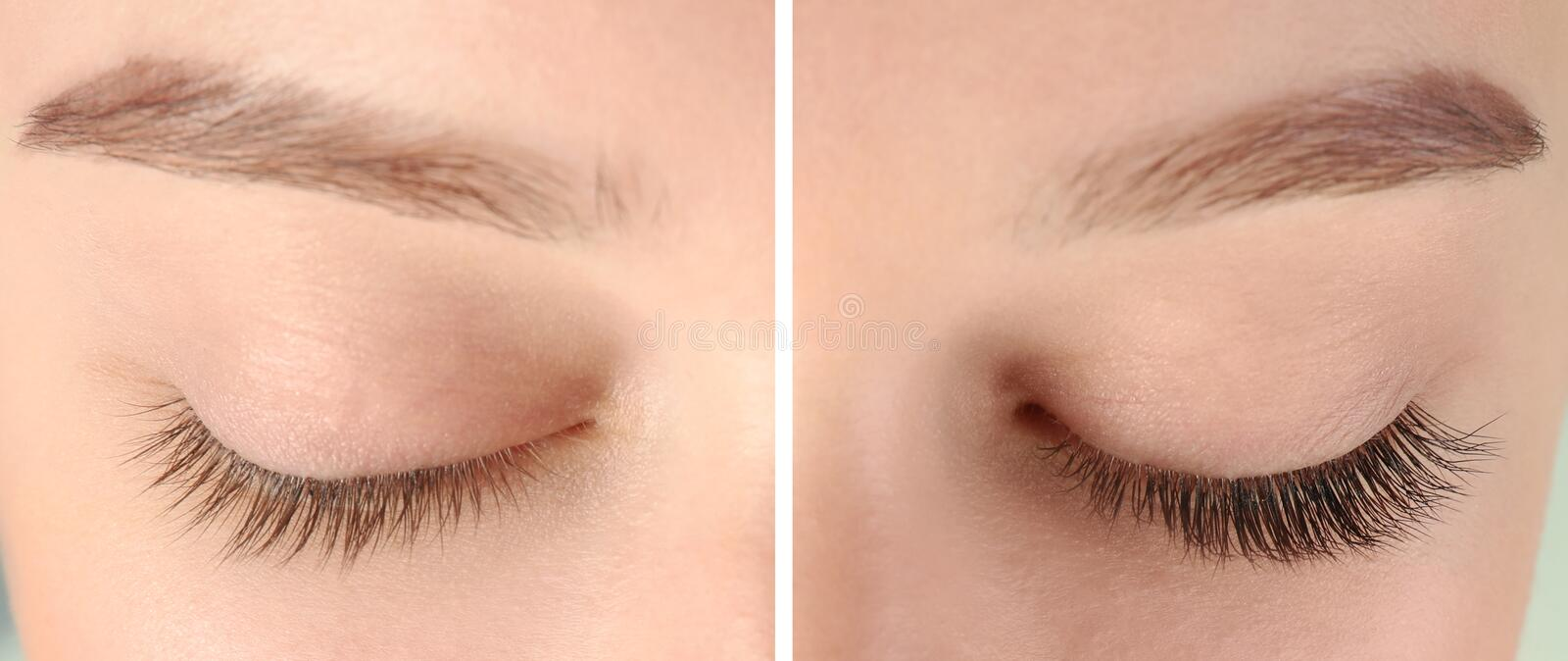 Young woman with beautiful eyelashes, closeup. royalty free stock photography