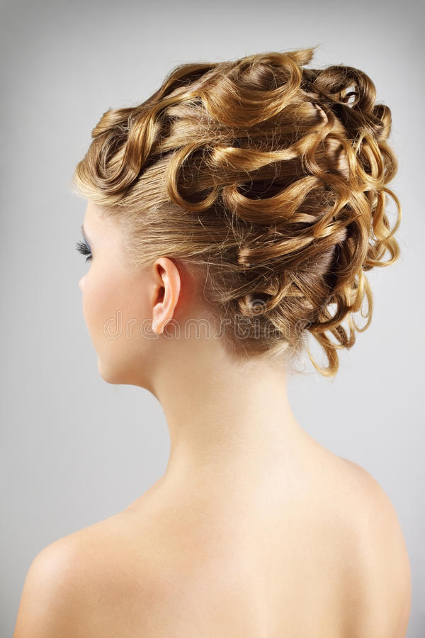 Young woman with beautiful hairstyle stock image