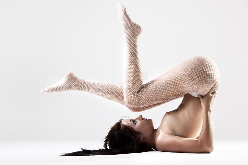 Young Woman With Beautiful Legs In Stockings Royalty Free Stock Photos
