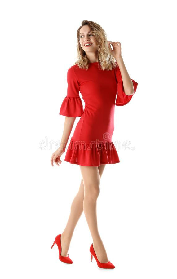 Young woman with beautiful long legs in stylish outfit royalty free stock photos