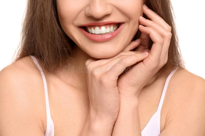 Young woman with beautiful smile, closeup. Teeth whitening stock photography