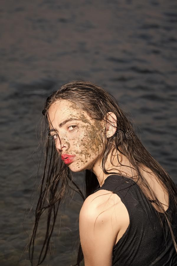 Young woman beauty portrait in water royalty free stock photo