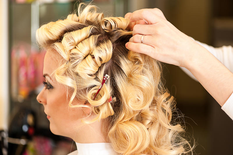 Young woman in a beauty salon royalty free stock image