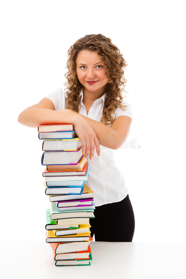 Download Young Woman Behind Pile Of Books Isolated On White Stock Image - Image: 31411923