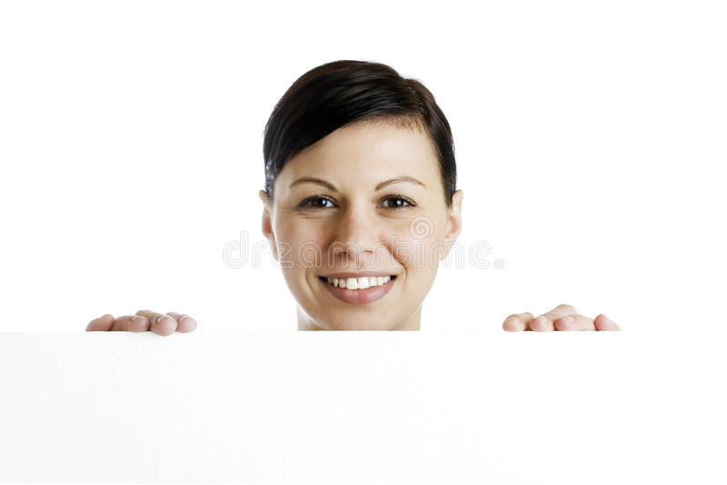 Download Smiling Woman Holding Billboard Stock Image - Image: 30156775