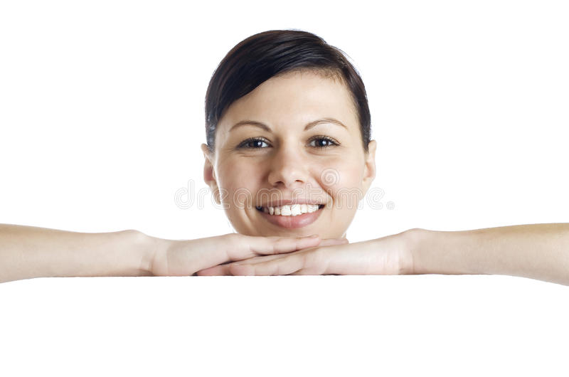 Download Smiling Woman Holding Billboard Stock Photo - Image: 30156796